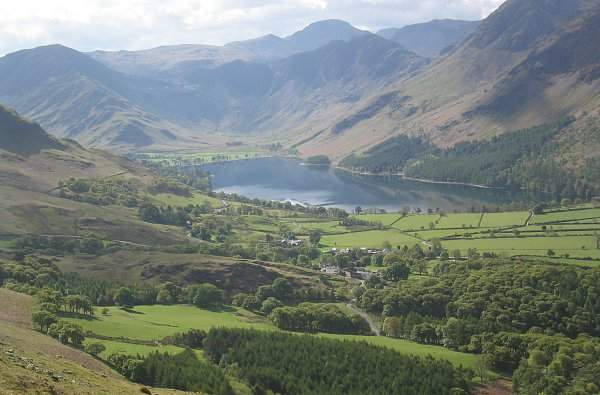 image of Buttermere village and lake, from Rannerdale Knotts