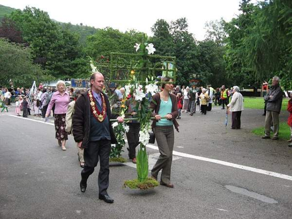 image of the rushbearing ceremony at Grasmere in the lake district.