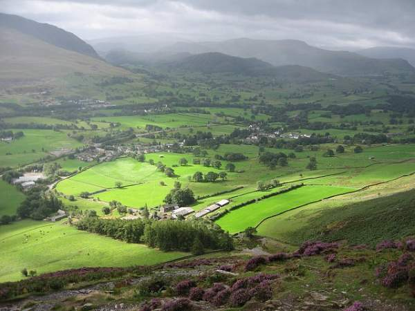 image of Threlkeld village in the Lake District from the foot of the Hall's Fell ridge