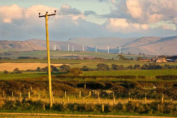 Wharrels Hill windfarm with Skiddaw beyond from Allonby