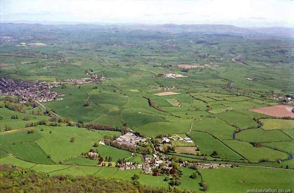 image of an aerial view of Beetham village, near Milnthorpe in Cumbria