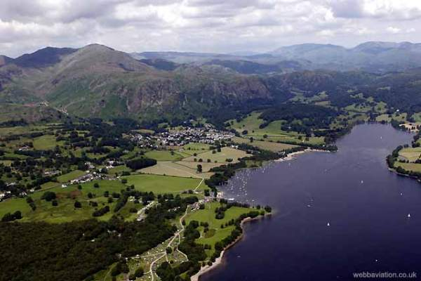 image of an aerial view of Coniston Water in the Lake District
