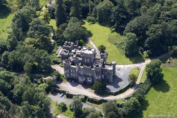 an aerial image of wray castle near ambleside in the lake district