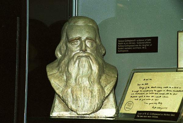 an image of a bust of John Ruskin at the Armitt museum in the lake district