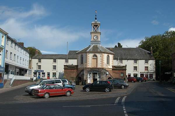 image of brampton in cumbria, and the moot hall in the centre of the village
