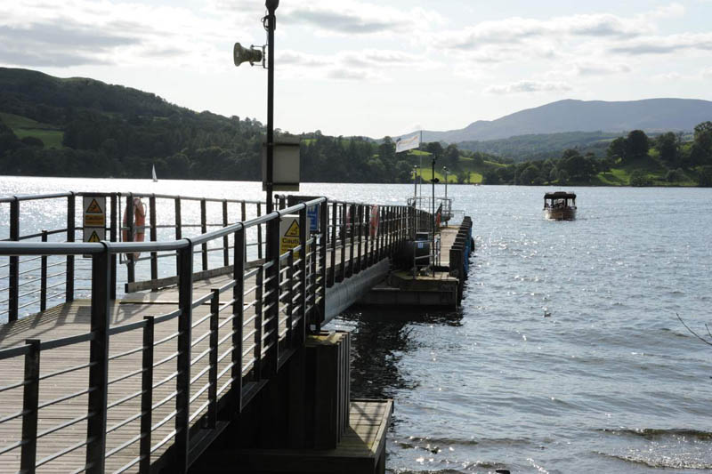 image of a launch arriving at Brockhole jetty on Windermere lake