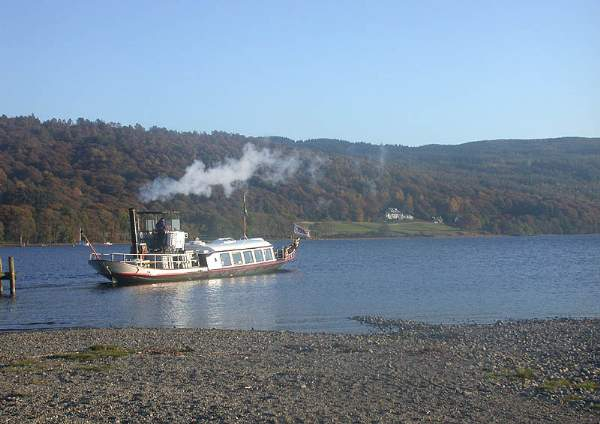 image of the Steam Yacht Gondola on Coniston Water, heading to Brantwood