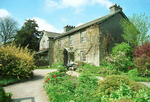 an image of the house and garden at hill top, a beatrix potter house and museum in the lake district