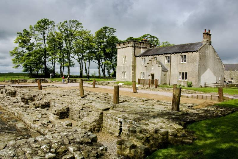image of Birdoswald fort and Birdoswald Farmhouse near Brampton in Cumbria