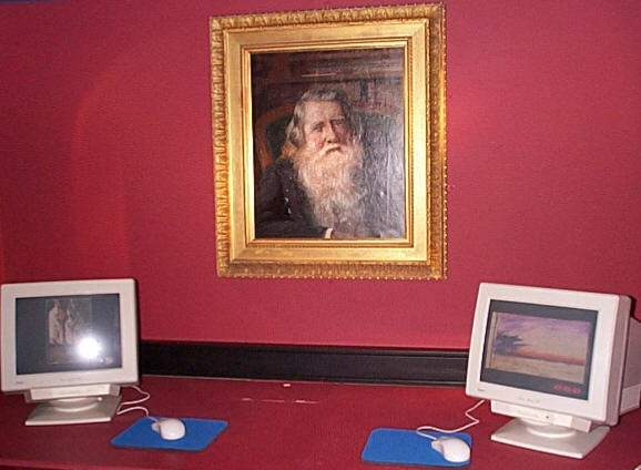 image of a portrait of John Ruskin inside the Ruskin Museum in Coniston