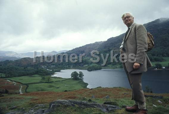 Alfred Wainwright in the Lake District, Cumbria. Circa 1970. Photo by Homer Sykes