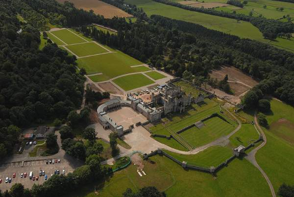 image of an aerial view of Lowther Castle and gardens near Penrith in Cumbria