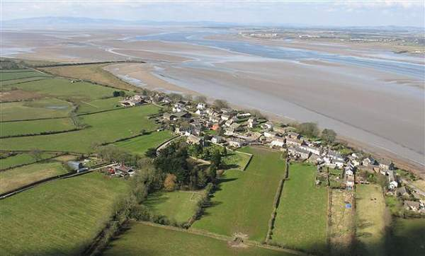 image of aerial view of the salt marshes and sands of Bowness-on-Solway in Cumbria