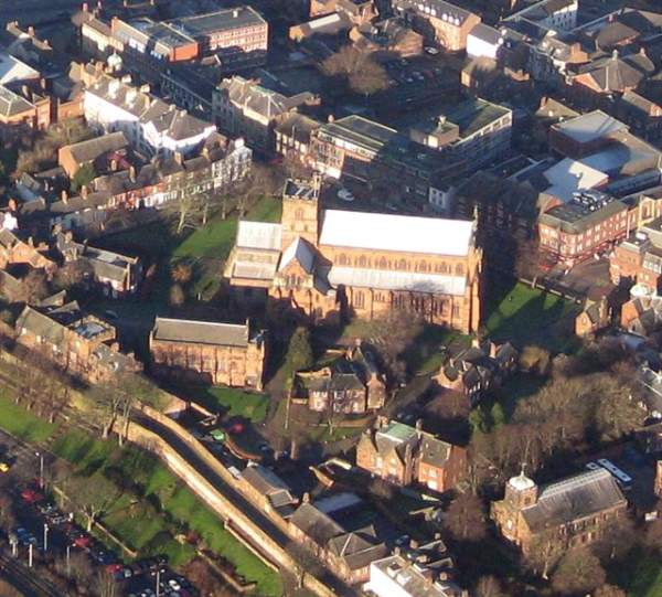 image of an aerial view of Carlisle Cathedral