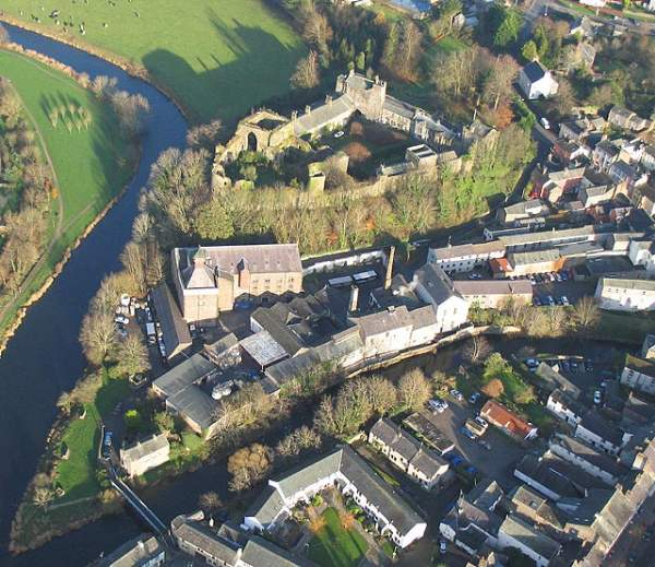 image of an aerial view of Jennings Brewery and Cockermouth Castle and the confluence of the rivers Derwent and Cocker