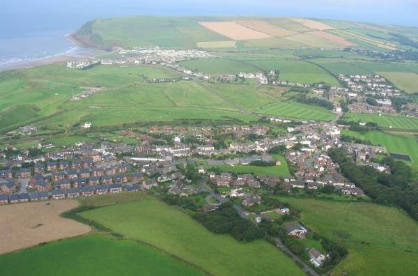 image of an aerial view of St Bees in Cumbria