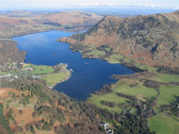 image of an aerial view of Ullswater lake's third reach