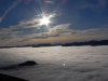 Bassenthwaite Lake covered with inversion clouds