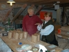 Judy Morris (left)with a mill visitor discussing the benefits of organic flour at Little Salkeld Watermill