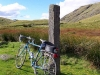 At the top of Wrynose Pass - the Three Shires Stone.