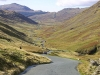 Starting the descent of Wrynose Pass towards Cockley Beck. In the distance (centre) is Hardknott Pass