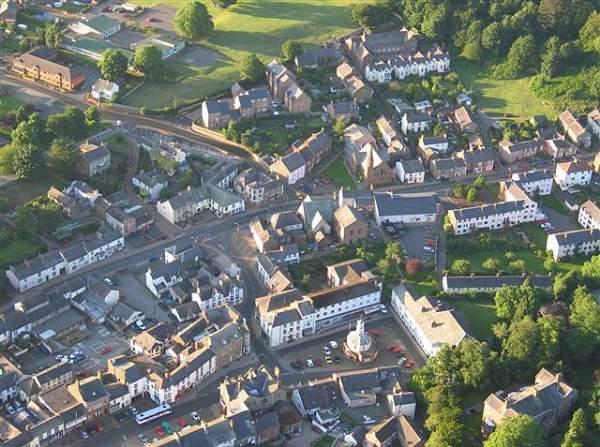 image of an aerial view of brampton near carlisle in cumbria