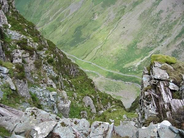 Looking down on Honister Pass from the Via Ferrata.