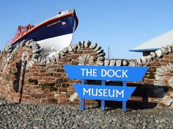 image of a boat outside the Dock Museum in Barrow-in-Furness