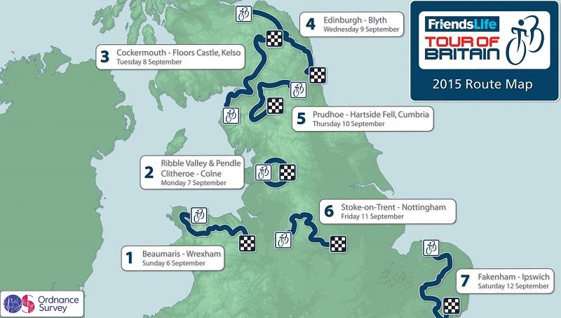 Tour of Britain 2015 route