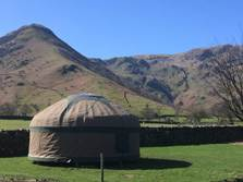 image of long valley yurts brotherswater, glamping lake district