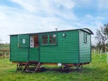 image of a shepherd's hut for glamping in cumbria