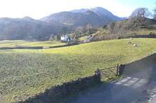 image of Little Langdale taken from the Three Shires Inn webcam