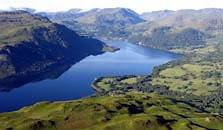 an aerial image of ullswater lake, the second largest of the lakes in the Lake District