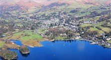 image of an aerial view of Ambleside, a town in the South Lakes