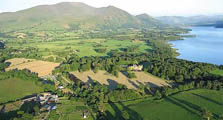 an aerial image of bassenthwaite village acting as an image link to the information page for bassenthwaite village