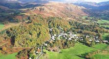 aerial image of eskdale green as an image link to the information page for eskdale green village