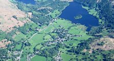 image of an aerial view of Grasmere village in the South Lakes