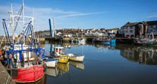 image of fishing boats in maryport harbour linking to the maryport town infomration page