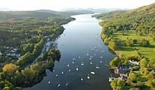 an aerial image of Windermere lake, the largest one of the lakes in the Lake District