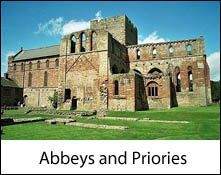 image of the eterior of the ruins of lanercost priory which is an image link to the abbeys and priories to visit in the lake district and cumbria page