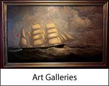 image of an oil painting of a sailing ship which is an image link to the art galleries to visit in the lake district and cumbria page