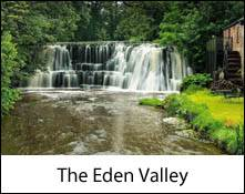 image of a wide waterfall in the eden valley which is an image link to the information page for the eden valley in cumbria area places to visit information page