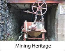image of a mine entrance which is an image link to the mining heritage of the lake district and cumbria page