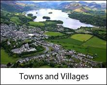 image looking down on to keswick town and derwentwater lake which is an image link to the towns and villages of the lake district and cumbria page