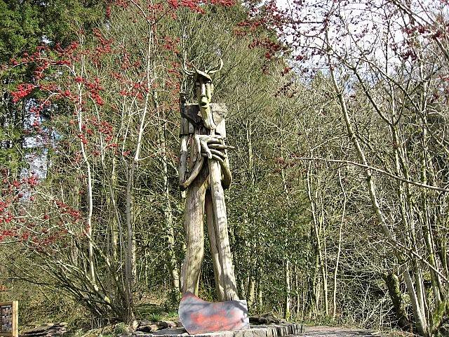 an image of a sculpture of a figure with an axe at grizedale forest visitor centre