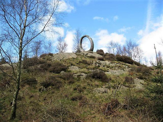 image of large circular sculpture in winter at Grizedale forest visitor centre
