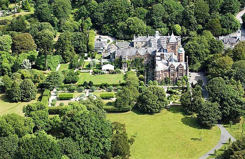 image of an aerial view of holker hall and gardens in cumbria