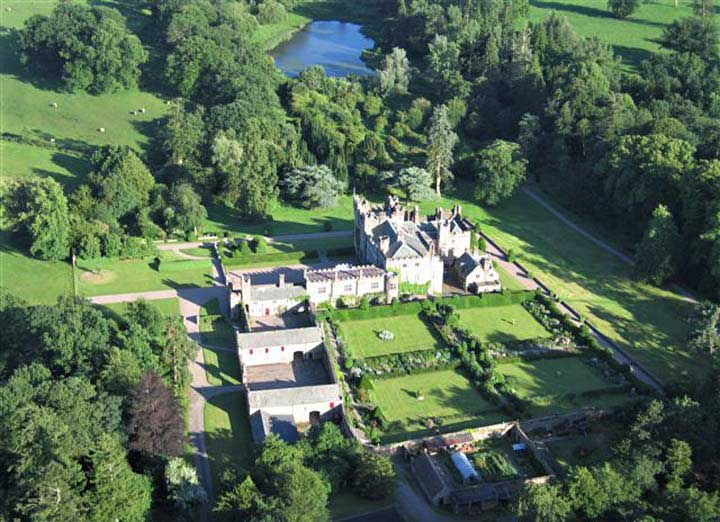 image of an aerial view of the river and hutton-in-the-forest historic house to visit in cumbria