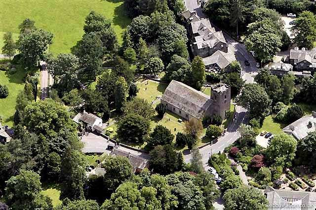 image of an aerial view of st oswald's church and wordsworth's grave in grasmere