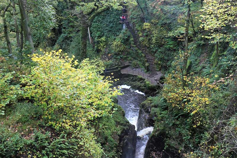 image of view looking down on to aira force waterfall in the lake district